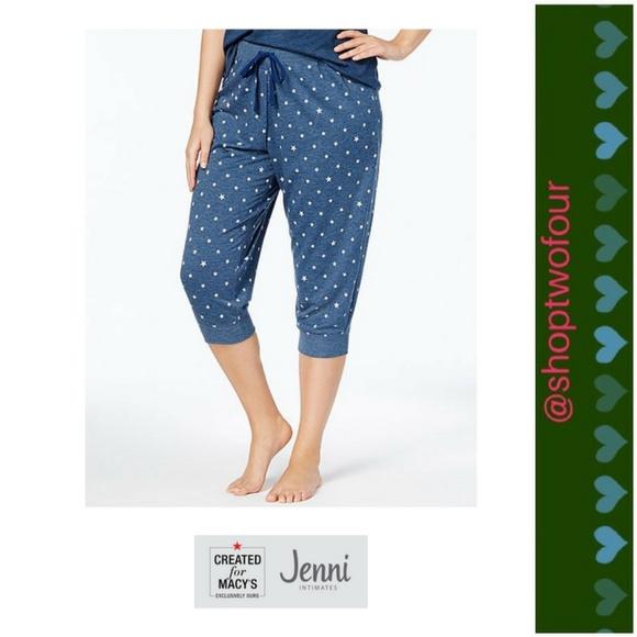 43fa210952689 Jenni Plus Cropped Jogger Pajama Pants Navy Star